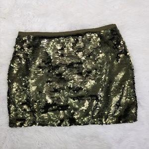 LOFT Olive Green Sequin Mini Skirt Size 12